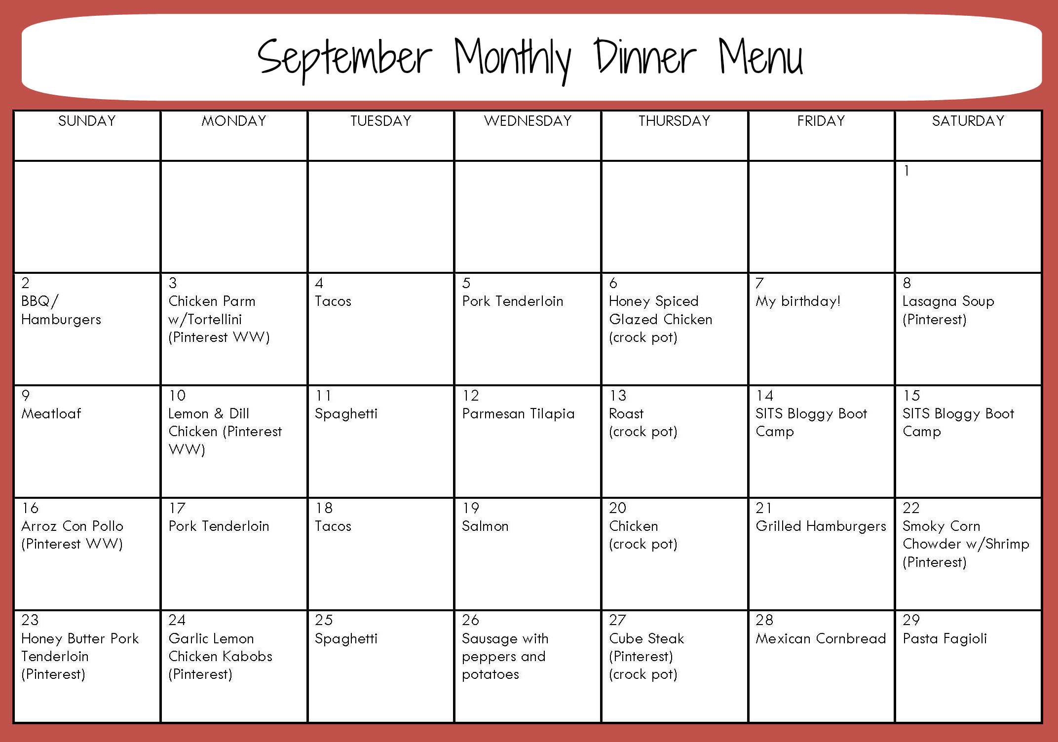 ... Free Pictures, Images and Photos Monthly Menu Planning Made Easy